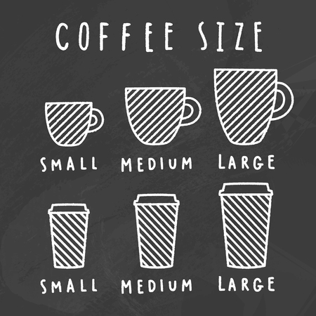 Choose coffee size. Chalkboard style. Vector hand drawn illustration