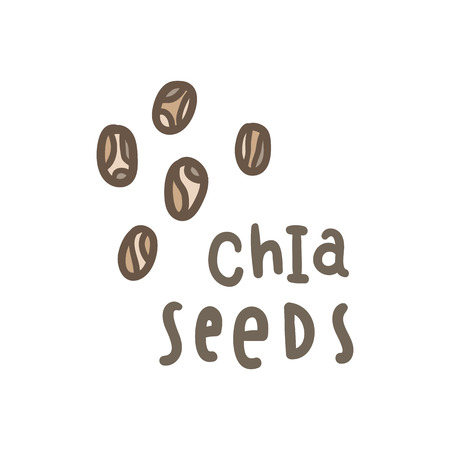 Chia seeds superfood. Vector hand drawn illustration Stock Photo