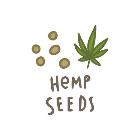 Hemp seeds superfood. Vector hand drawn illustration