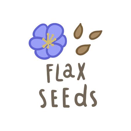 Flax seeds superfood. Vector hand drawn illustration