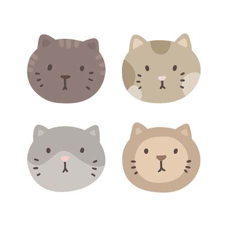grey cat: Set of four cats faces. Vector hand drawn illustration