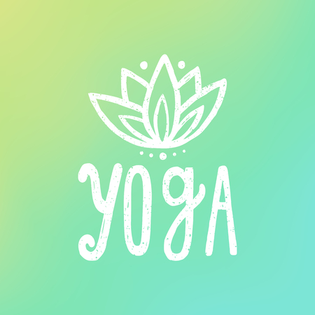 brain illustration: Yoga and lotus on gradient background. Vector hand drawn lettering and illustration