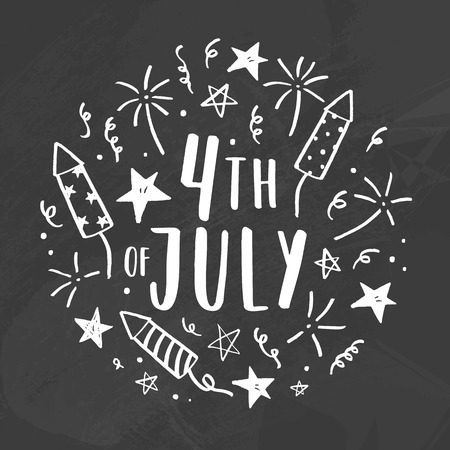 Fourth of July. Chalk doodle drawing on a blackboard. Vector hand drawn illustration