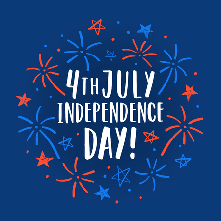 Beautiful 4th of July decorative card. Sketchy firework and lettering. Vector illustration Stock Photo