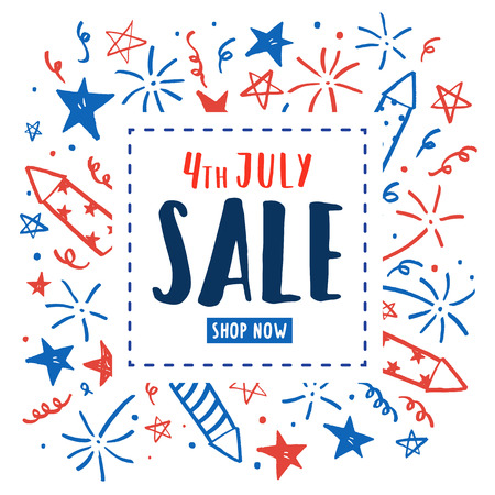 4th of July sale. Independence Day flyer. Vector hand drawn doodles. Template Ilustração