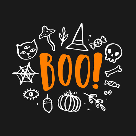 Halloween cute illustration. Hand drawn lettering and doodles. Stock Photo