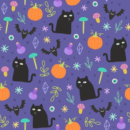 Halloween magic background. Vector hand drawn seamless pattern with witch black cats, pumpkins etc