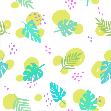 Bright trendy seamless pattern. Background with tropical leaves and dots. Vector illustration