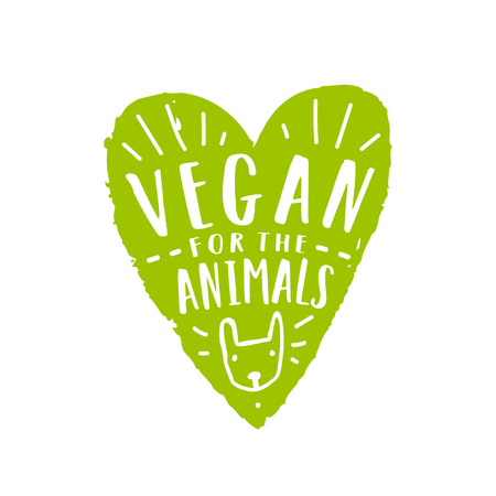 Vegan for animals. Green heart silhouette and hand drawn lettering. Illustration