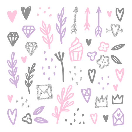 Set of love romantic design elements. Glitter effect. Vector hand drawn illustration