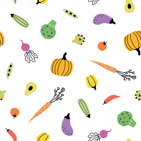 Cute vegetable background. Vector hand drawn seamless pattern