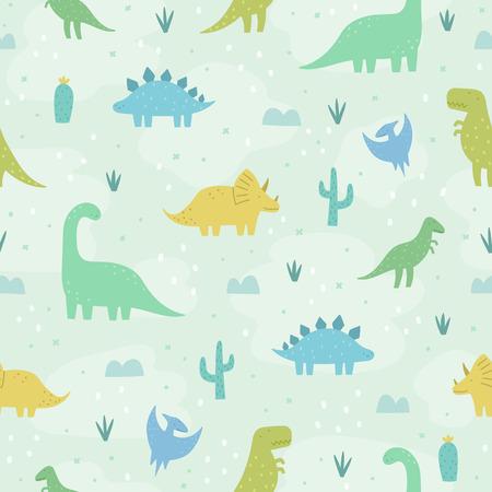 Dinosaurios de dibujos animados divertidos. Patrón transparente de vector