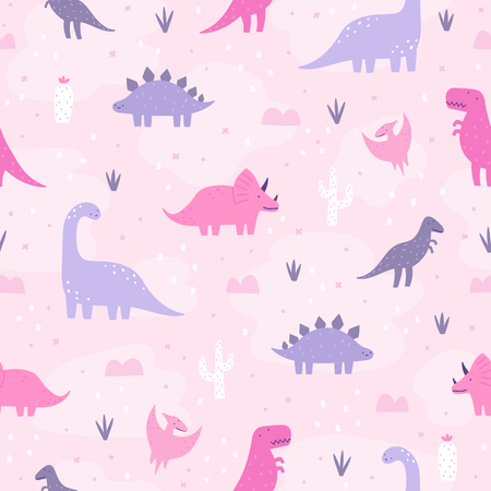 Cute pastel dinosaurs. Vector hand drawn cartoon seamless pattern Imagens
