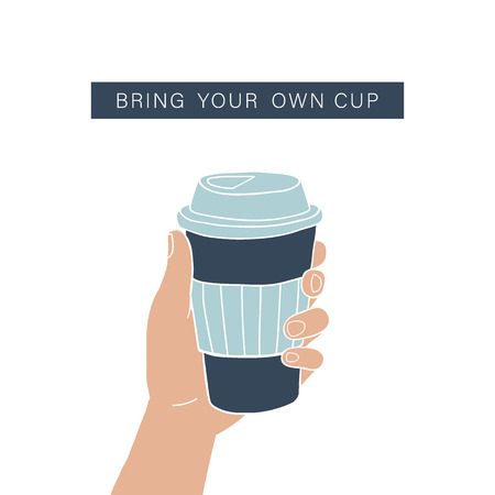 Hand holding coffee cup. Zero waste lifestyle. Vector illustration