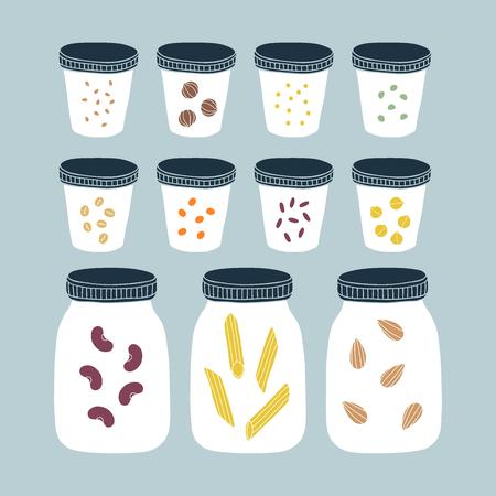 Zero waste pantry. Kitchen jars. Vector illustration