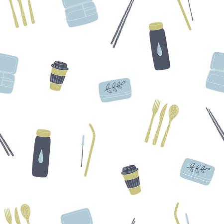 Zero waste reusable lunchbox, cup, utensils etc. Vector seamless pattern