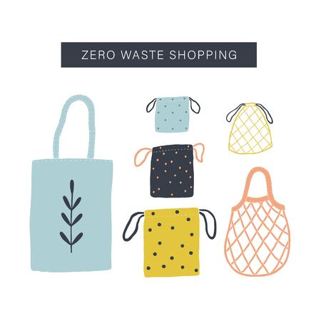 Zero waste shopping toolkit flat lay. Vector illustration