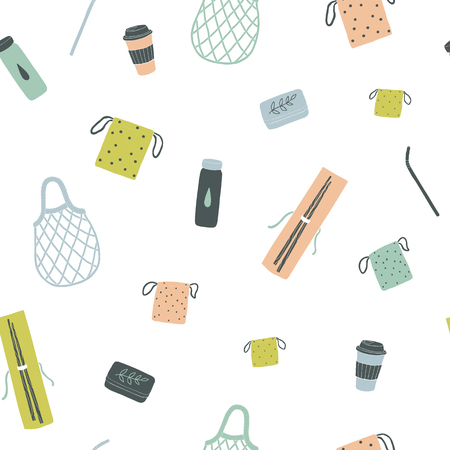 Zero waste items. Vector hand drawn seamless pattern 版權商用圖片