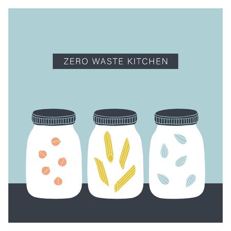Zero waste kitchen. Vector hand drawn jars illustration