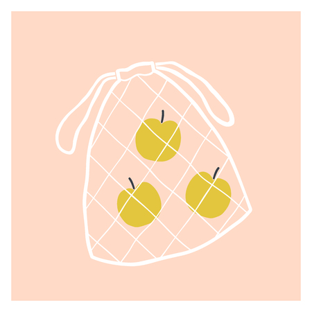 Net fruit bag with apples. Vector hand drawn illustration