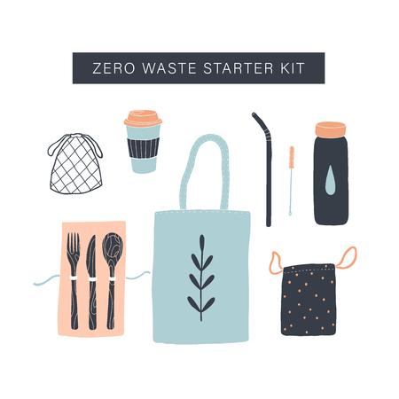 Zero waste starter kit. Vector hand drawn objects
