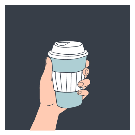 Hand holding reusable coffee cup. Vector illustration