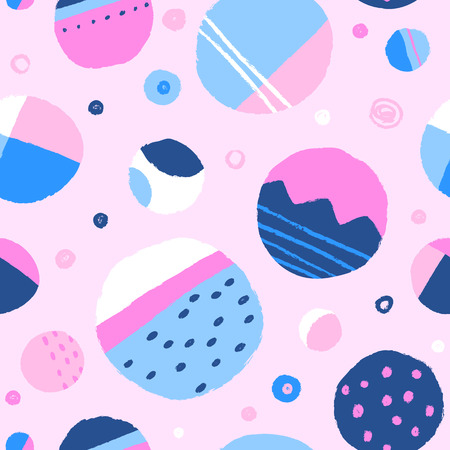Abstract colourful rounds. Vector hand drawn seamless pattern Фото со стока