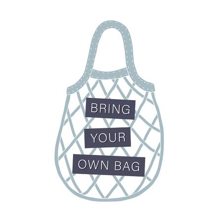Bring your own bag. Zero waste concept. Vector hand drawn illustration Иллюстрация