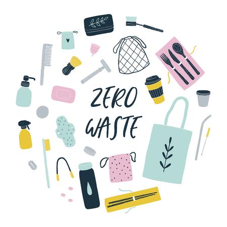 Zero waste reusable items. Vector hands drawn illustration