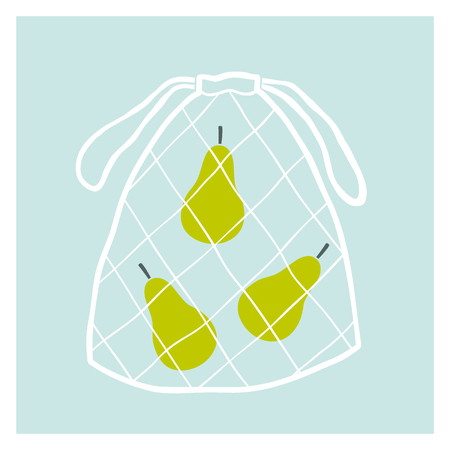 Net fruit bag with pears. Zero waste concept. Vector hand drawn illustration