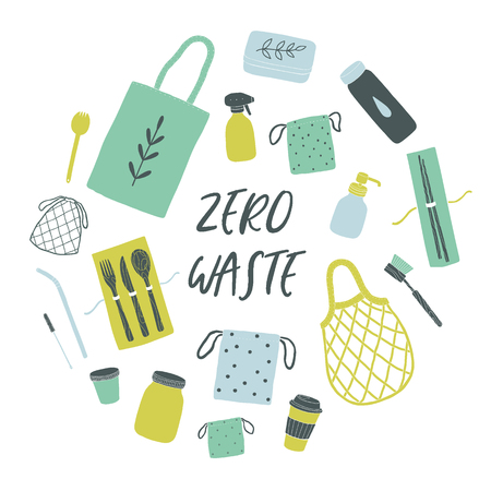 Zero waste items. Vector hand drawn illustration Иллюстрация