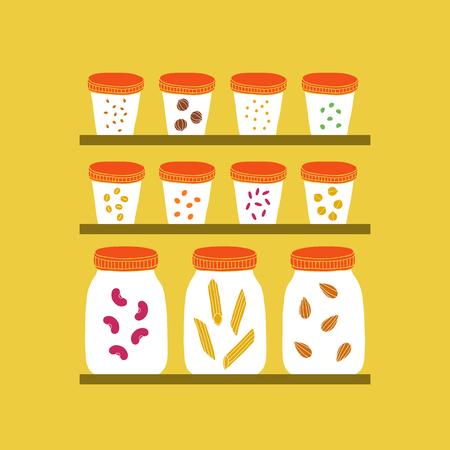 Glass jars with grains. Vector hand drawn illustration Иллюстрация