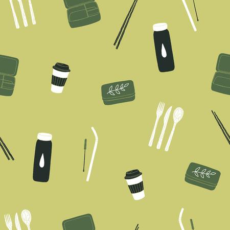 Zero waste items seamless pattern. Vector illustration