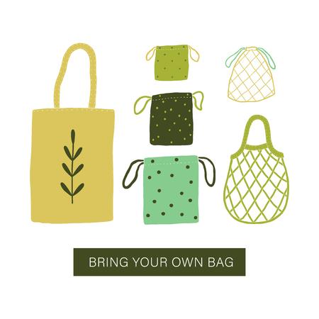 Bringen Sie Ihre eigene Tasche mit. Null Abfallbeutel. Vektor-Illustration