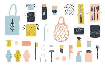 Zero waste items for eco friendly living. Vector illustration isolated on white - Vector Фото со стока