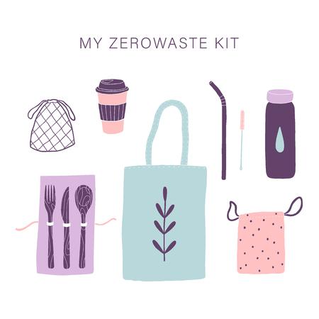 Zero waste everyday kit. Vector hand drawn illustartion