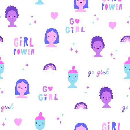Cute girls and feminist quotes. Seamless pattern