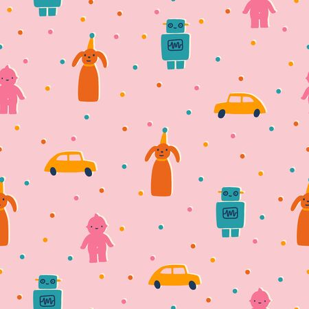 Cute and funny retro toys. Seamless pattern.