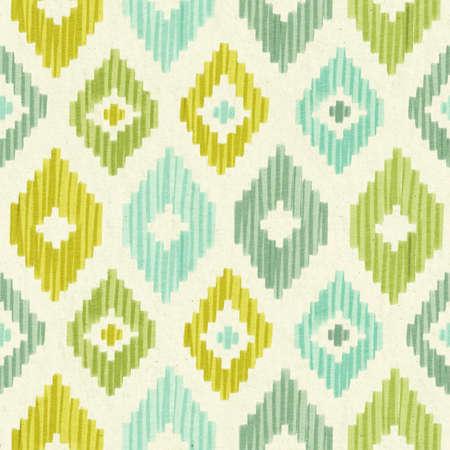 Pastel rhombus Ikat hand drawn seamless pattern.
