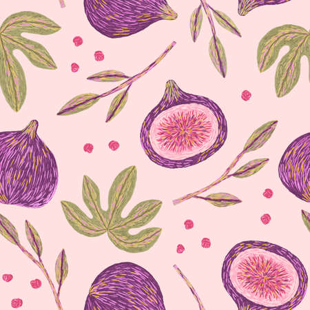 Ripe figs and leaves embroidery. Seamless pattern.