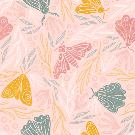 Cute pastel moth and plants seamless pattern.