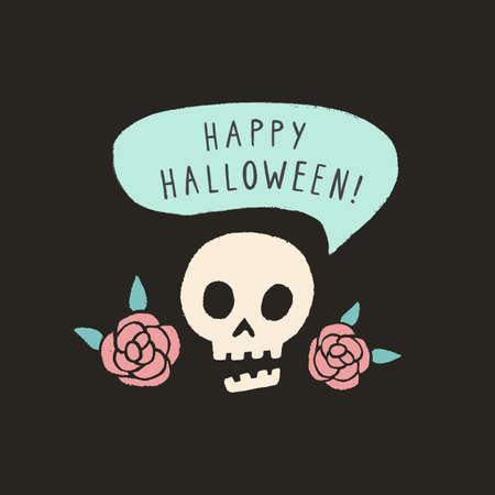 Happy Halloween funny skull. Halloween card.