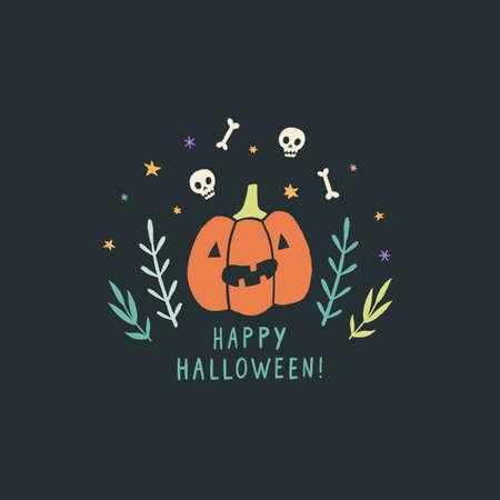 Funny jack o lantern. Halloween greeting card