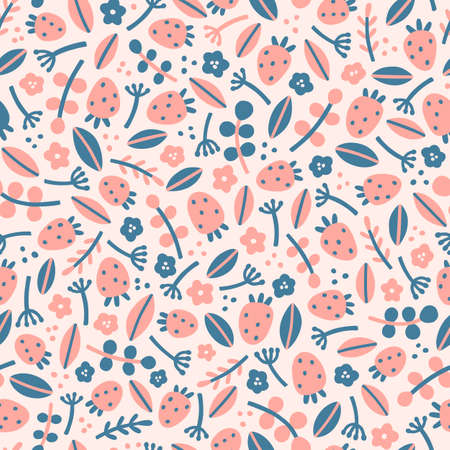 Cute strawberries and leaves. Vector hand drawn seamless pattern Ilustração