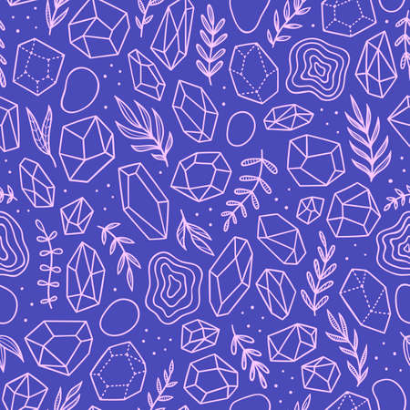 Boho style crystals and plants. Vector seamless pattern