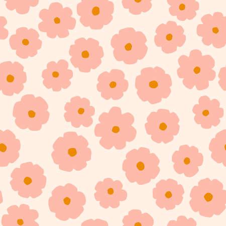 Cute pink flowers on beige background. Vector seamless pattern Ilustração