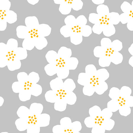 Cute white cherry flowers on grey background. Vector seamless pattern