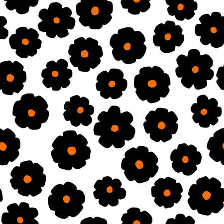 Black flowers on white background. Vector minimalistic seamless pattern