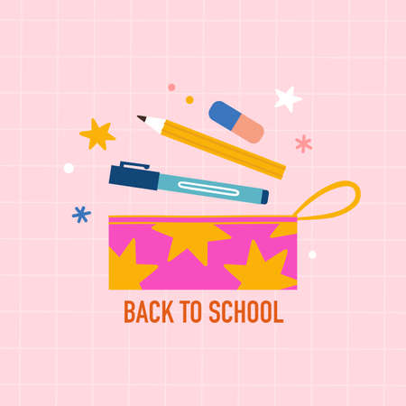 Back to school. Pencil bag and stationery.