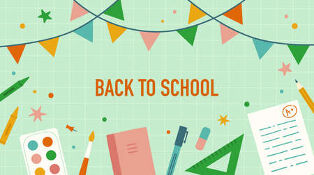 Back to school. Stationery and school items. Ilustração